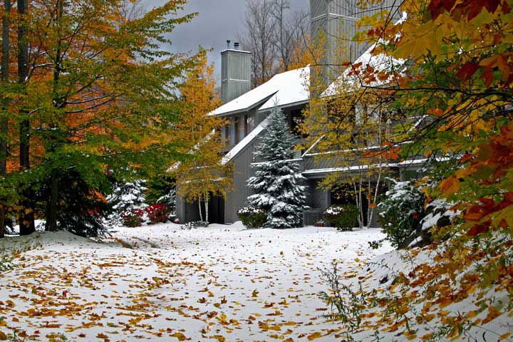 Snow in October at Hamlet Village condos in Harbor Springs northern Michigan