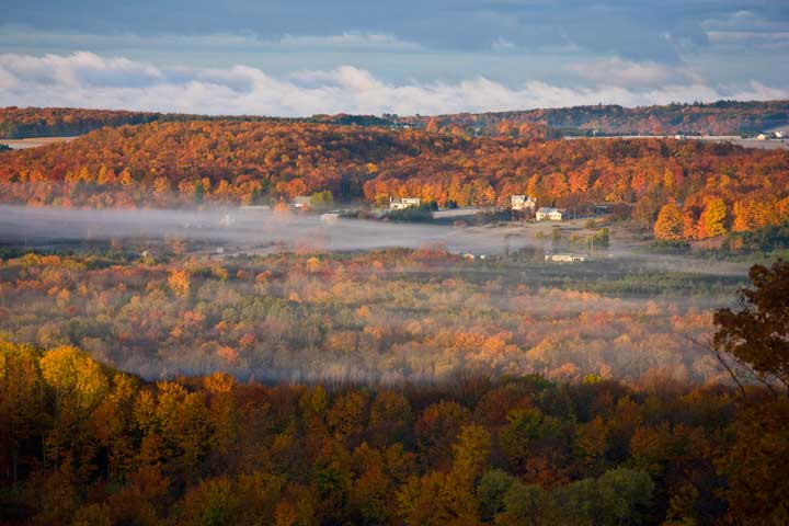 Beautiful fall colors from the top of Nub's Nob ski area in Harbor Springs northern Michigan