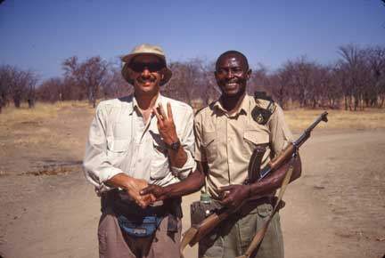 Dr. P with Park Ranger in Hwange National Park