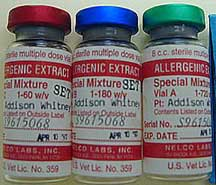 Bottles of allergens for injection