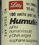 The label on a bottle of NPH insulin