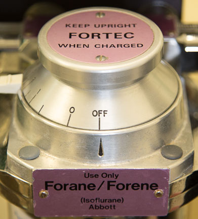Isoflurane Anesthetic Vaporizer showing it is off