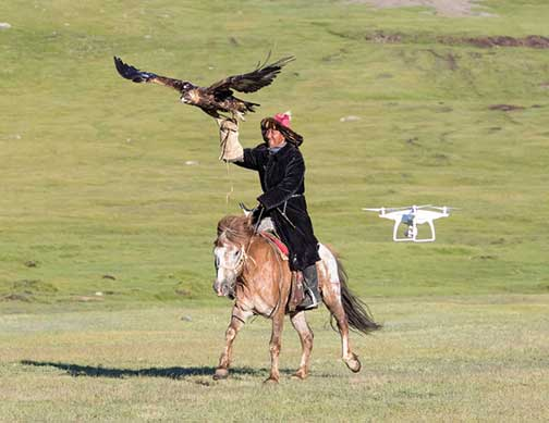 Drone following the master eagle falconer as he gallops with his eagle