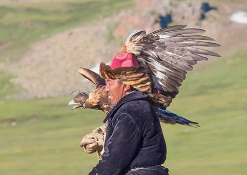 Kazakh nomad with his golden eagle