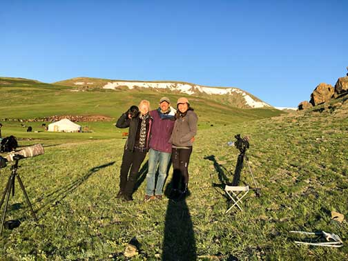 Dr. P and his camera crew posing in the mountains of Mongolia