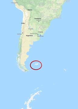 Map of Where the Falkland Islands are Located off the Coast of Argentina