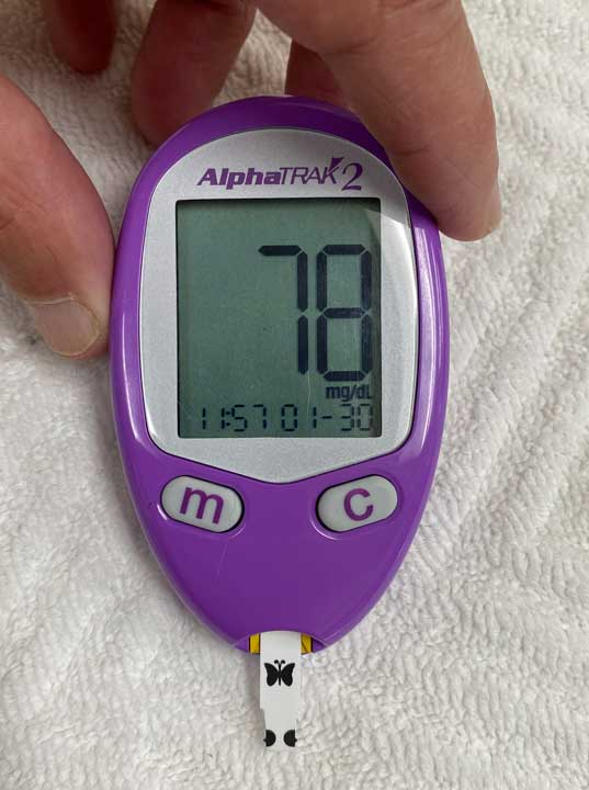 blood-glucose-test result of 78
