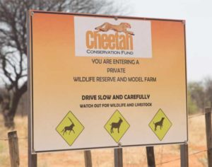 Cheetah Conservation Fund sign