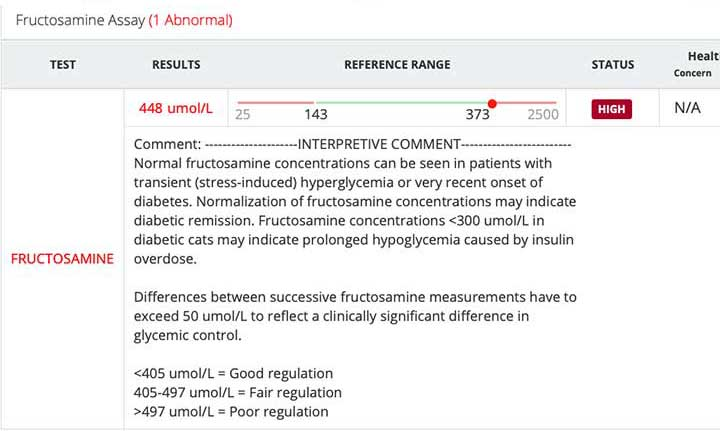 Fructosamine test results