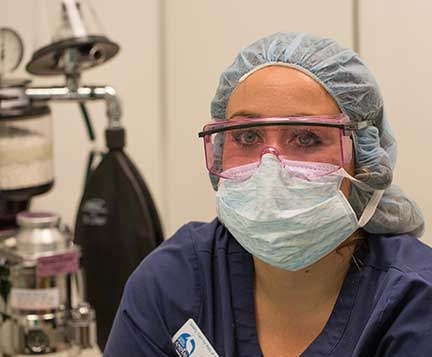 Nurse anesthetist wearing laser safety glasses
